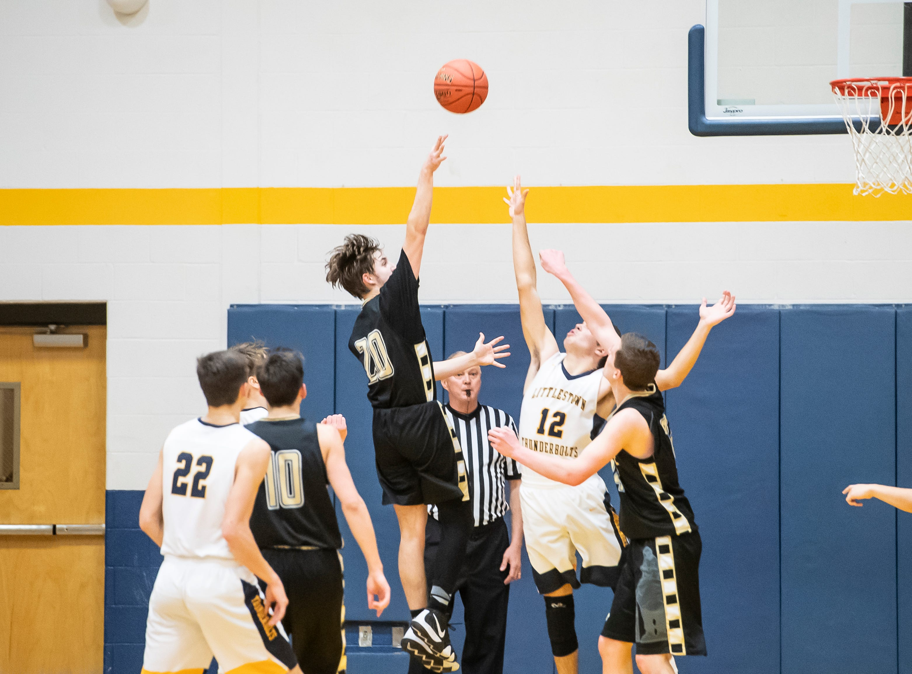 Biglerville's Noah Weaver scores on a jump shot during play against Littlestown Tuesday, February 5, 2019. The Canners fell 54-46.