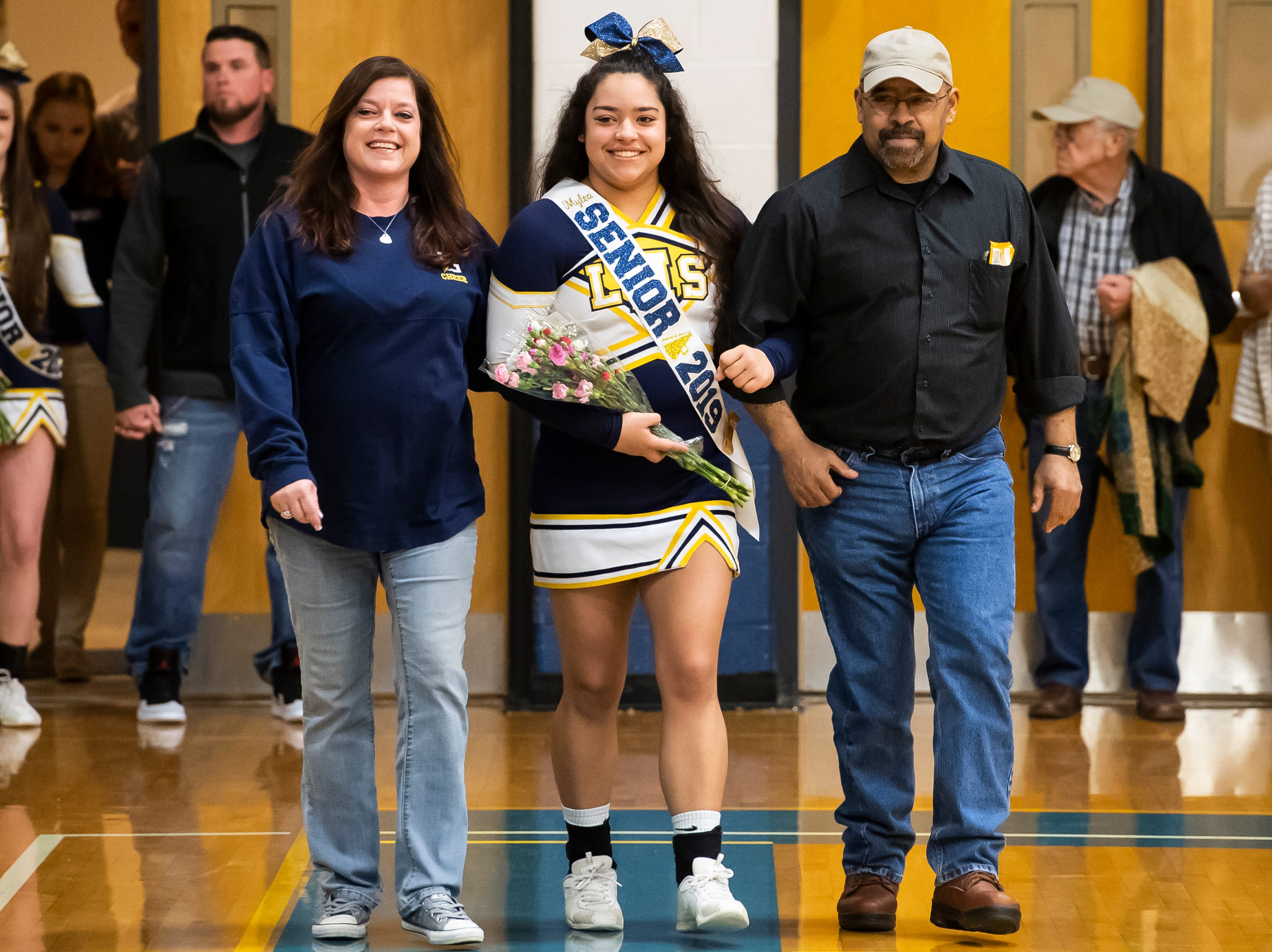 Littlestown's Mylea Brooks is honored during senior night Tuesday, February 5, 2019.