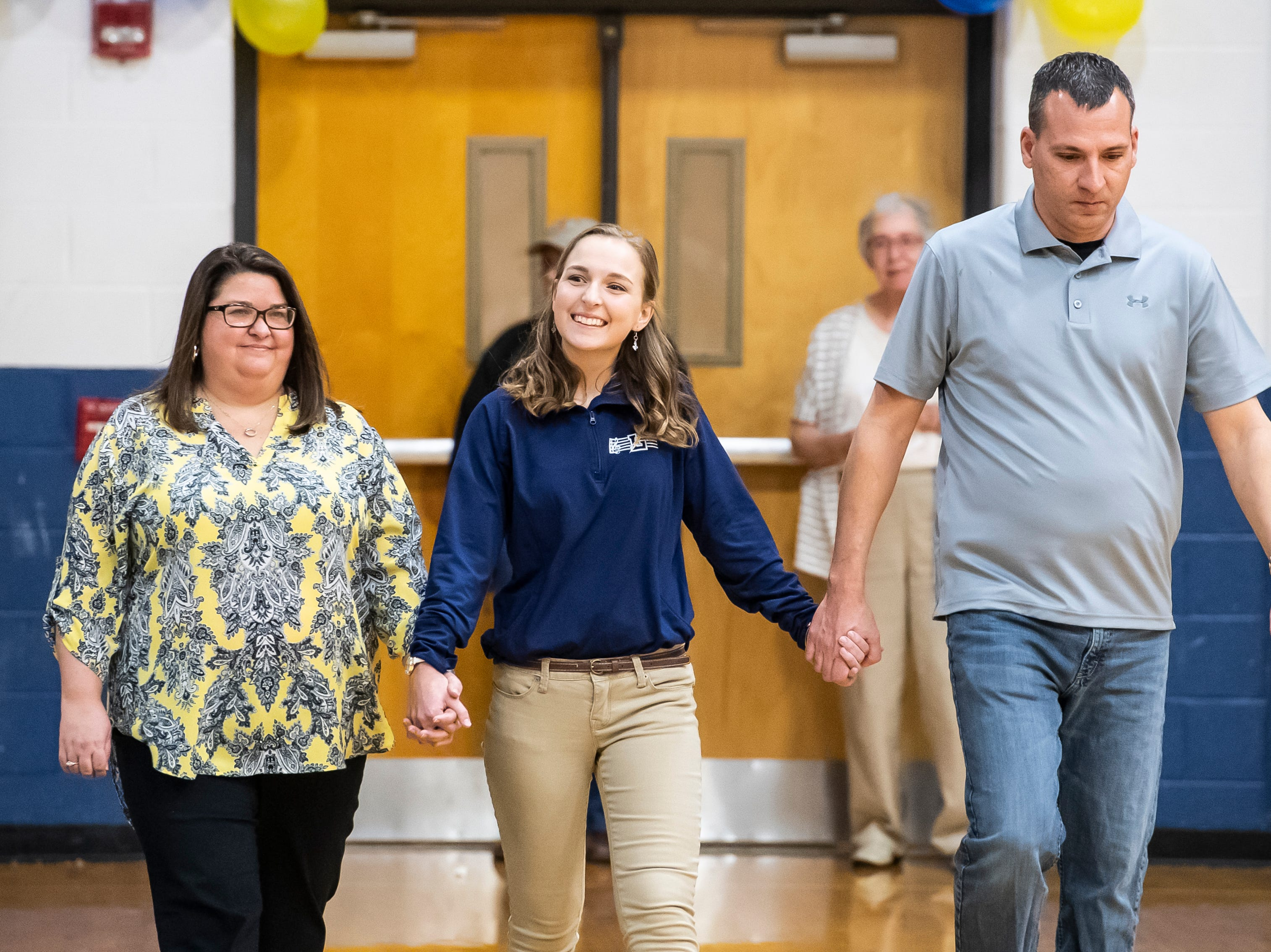 Littlestown's Lindsay Boritz is honored during senior night Tuesday, February 5, 2019.