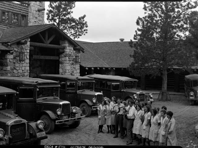 For decades, employees would sing as visitors departed from the Grand Canyon Lodge on the North Rim. This shot was taken in 1933.