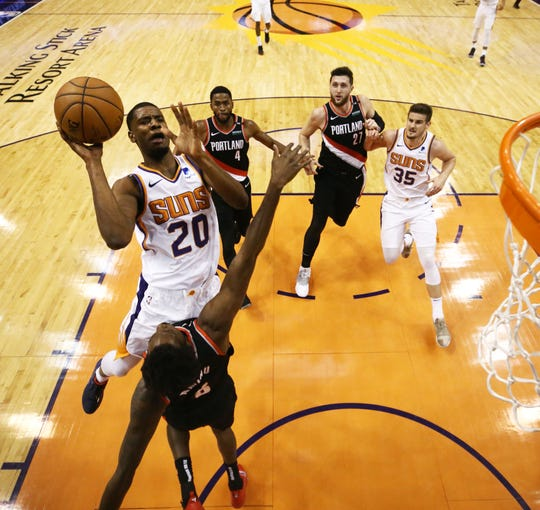 Suns forward Josh Jackson goes up for a  shot against the Trail Blazers during a game Jan. 24 at Talking Stick Resort Arena.