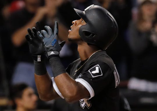 White Sox shortstop Tim Anderson celebrates after hitting a home run against the Cubs during a game at Guaranteed Rate Field.