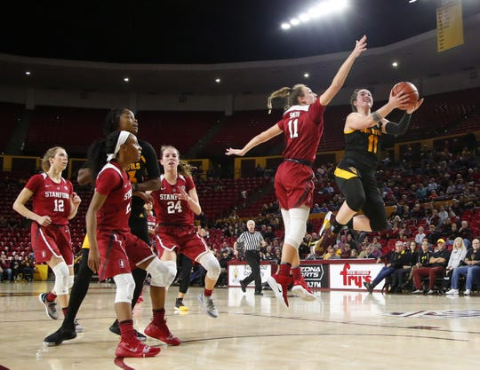 Junior guard Robbi Ryan, shooting vs. Stanford on Jan. 11, has started every game for No. 20 Arizona State women's basketball despite offseason ankle issues.
