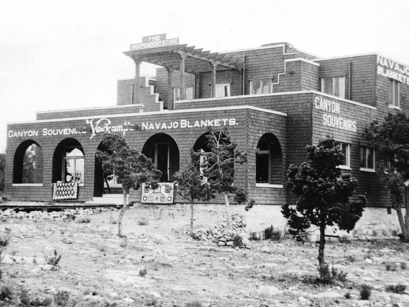 The Verkamp's shop, shown here ca.  1910, sold Navajo rugs and blankets as well as other souvenirs.