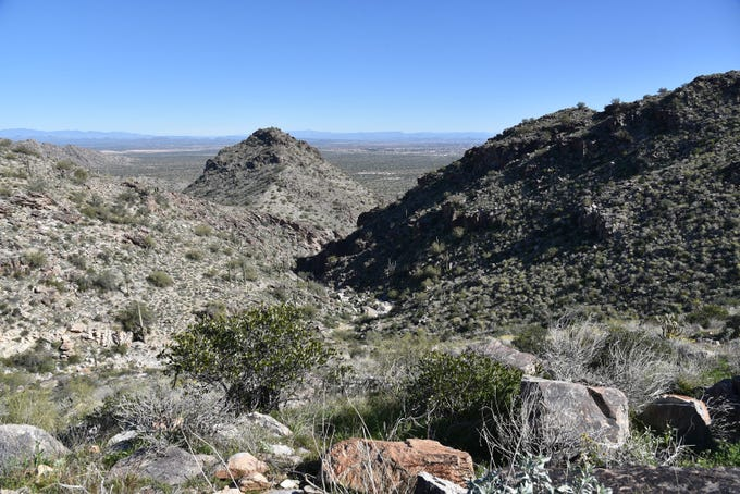 The complex geology of the White Tank Mountains is on display.