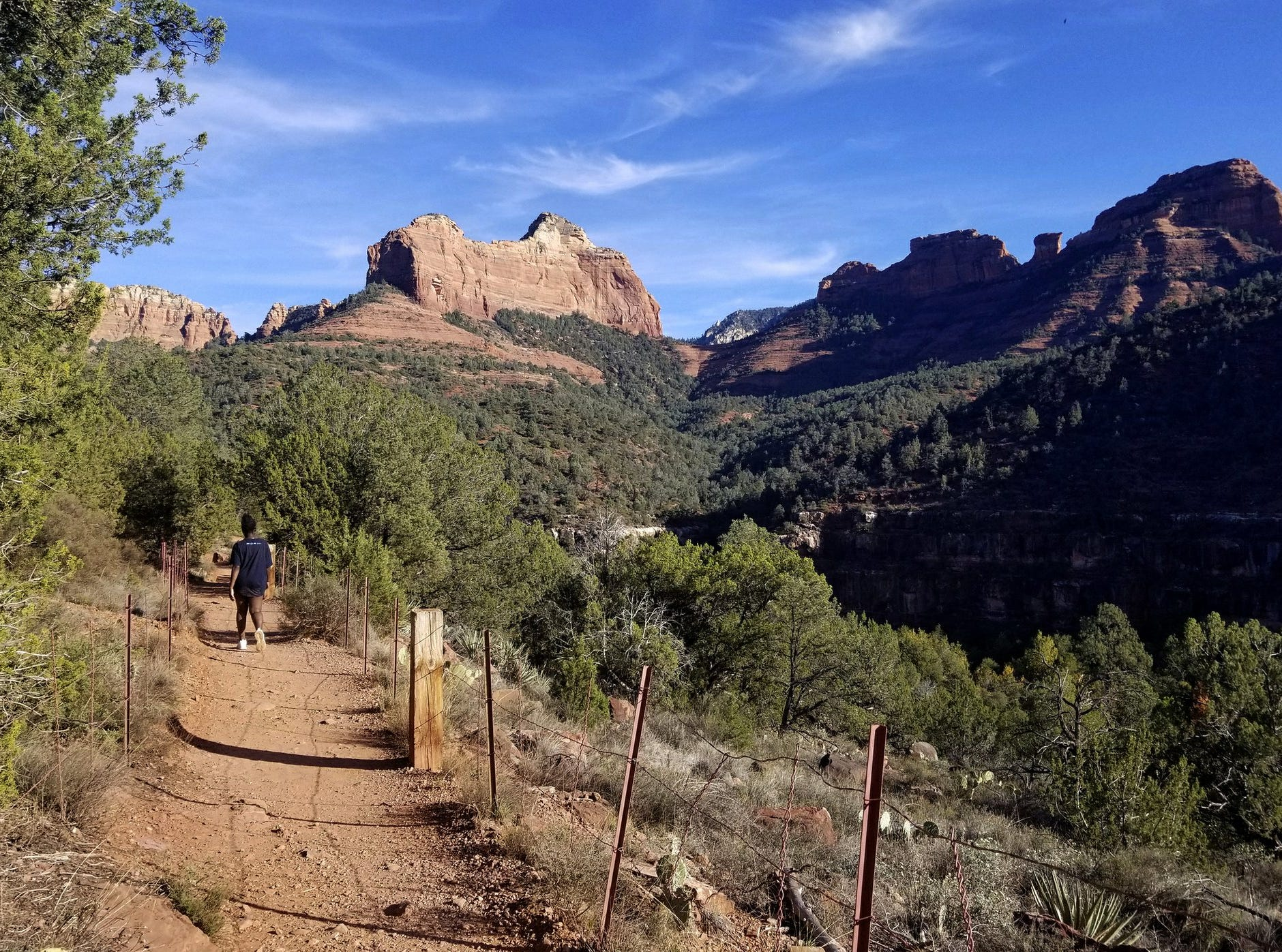 Hiking the Huckaby Trail on the way to Oak Creek in Sedona.