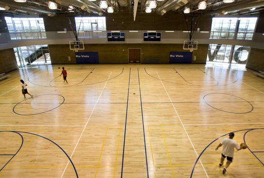 This is the basketball floor at the new Rio Vista Recreation Center in Peoria . Photo by Tom Tingle/The Arizona Republic
