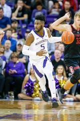 Jan 17, 2019; Seattle, WA, USA; Washington Huskies guard Jaylen Nowell (5) dribbles against the Stanford Cardinal during the second half at Alaska Airlines Arena. Mandatory Credit: Joe Nicholson-USA TODAY Sports