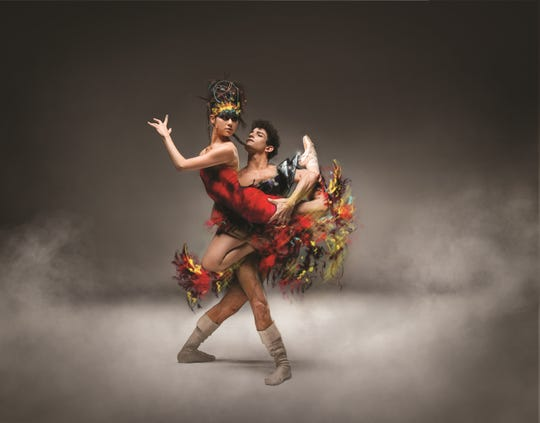"Ballet Arizona dancers Mimi Tompkins and Helio Lima in a photo illustration for ""The Firebird"" using costume sketches by Fabio Toblini."