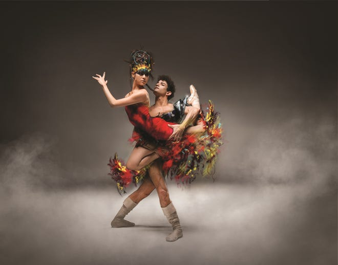 """A production of the """"Firebird"""" ballet, by Ballet Arizona, with dancers Mimi Tompkins and Helio Lima"""