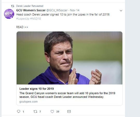 A tweet announces that GCU women's head soccer coach Derek Leader has added 10 players for the 2019 season.