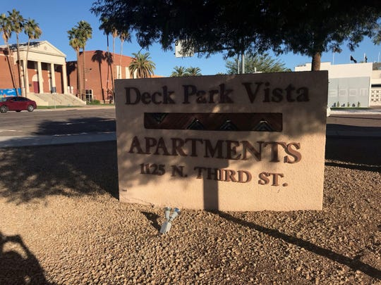 Deck Park Vistas is located at Third and Moreland streets in downtown Phoenix. Phoenix is considering demolishing the senior housing for new workforce apartments.