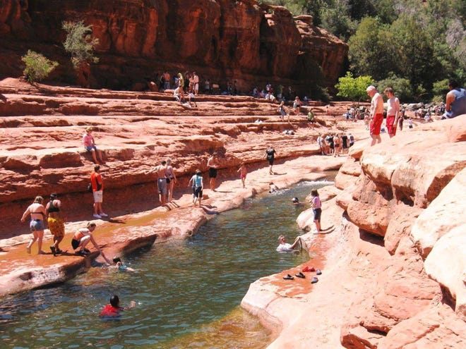 Slide Rock State Park  courtesy of Roger Naylor PhotoS by Roger Naylor Famed swimming hole, Slide Rock State Park, is one of the iconic stops along 89A in Oak Creek Canyon. Famed swimming hole, Slide Rock State Park, is one of the iconic stops along 89A in Oak Creek Canyon.