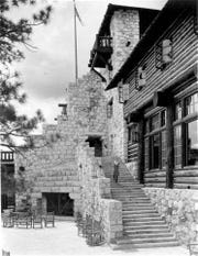 The original Grand Canyon Lodge on the North Rim, as seen ca. 1930. The lodge was destroyed by fire in 1932.