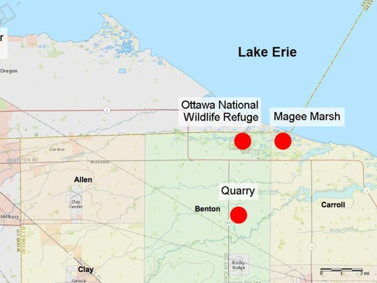 Magee Marsh is located four miles north of the quarry where Rocky Ridge Development LLC has proposed a new resting place for spent lime sludge from Toledo's Collins Park Water Treatment Plant.