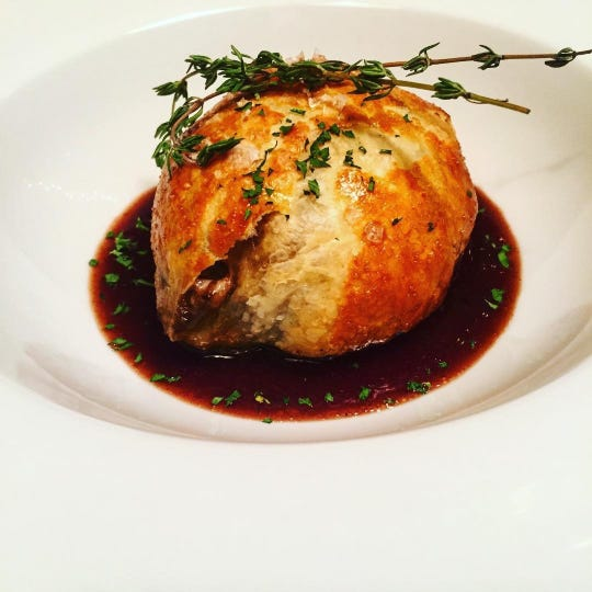 A miniature braised beef and Stilton pie from Bia, an Irish restaurant set to open in Rhinebeck.