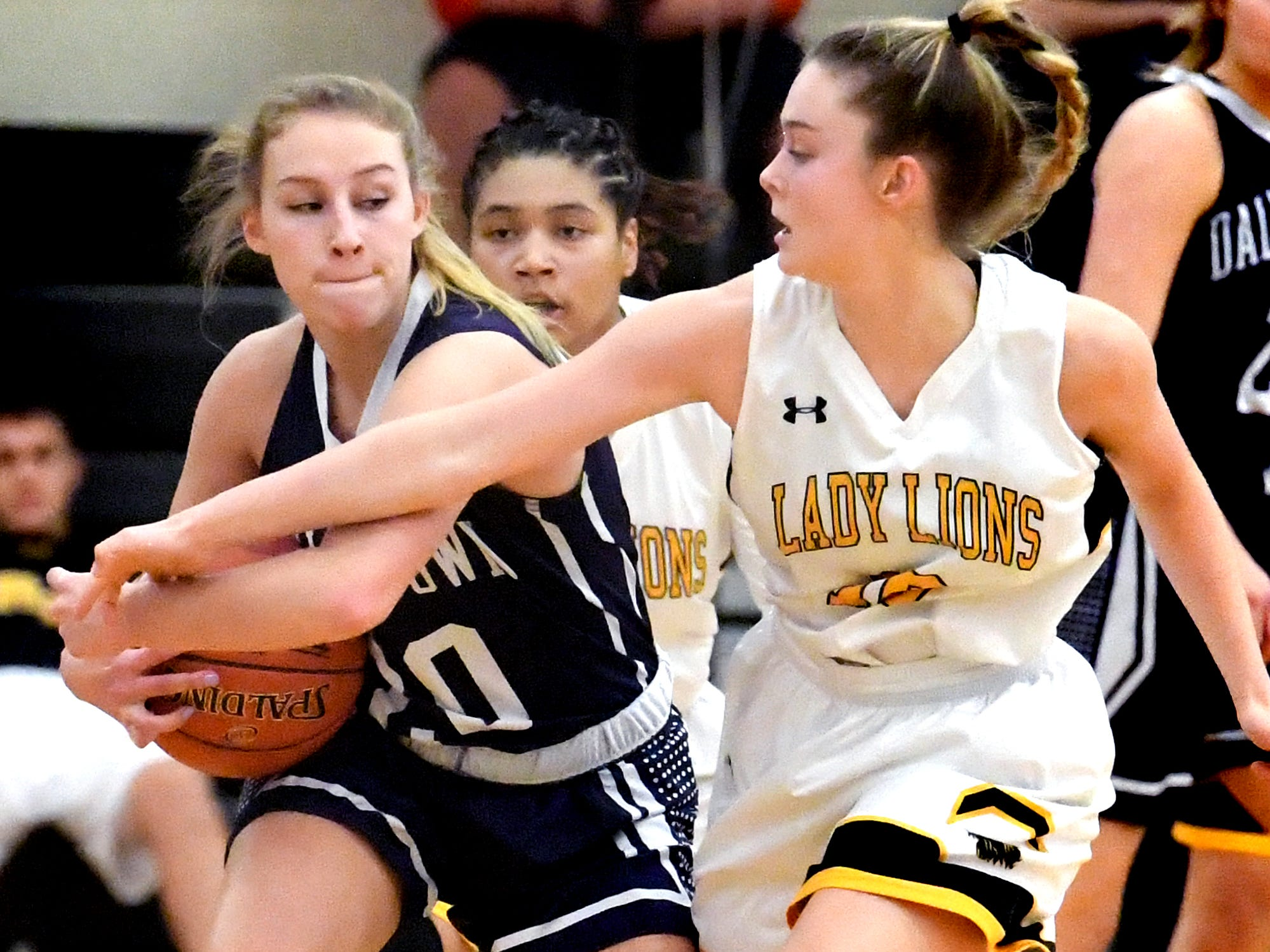 Dallastown's Lily Jamison protects the ball with pressure from Red LIon's Alleney Klunk during basketball action at Red Lion Tuesday, Feb. 5, 2019. Bill Kalina photo