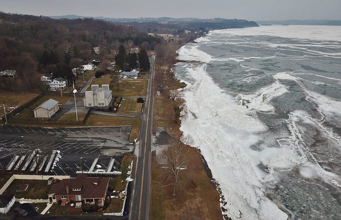 Ice is covering most of Lake Clarke in the Long Level area and minor flooding has already started in Wrightsville where the PA Fish Commission boat launch and community baseball fields along S. Front Street are under water, Wednesday, February 5, 2019.John A. Pavoncello photo
