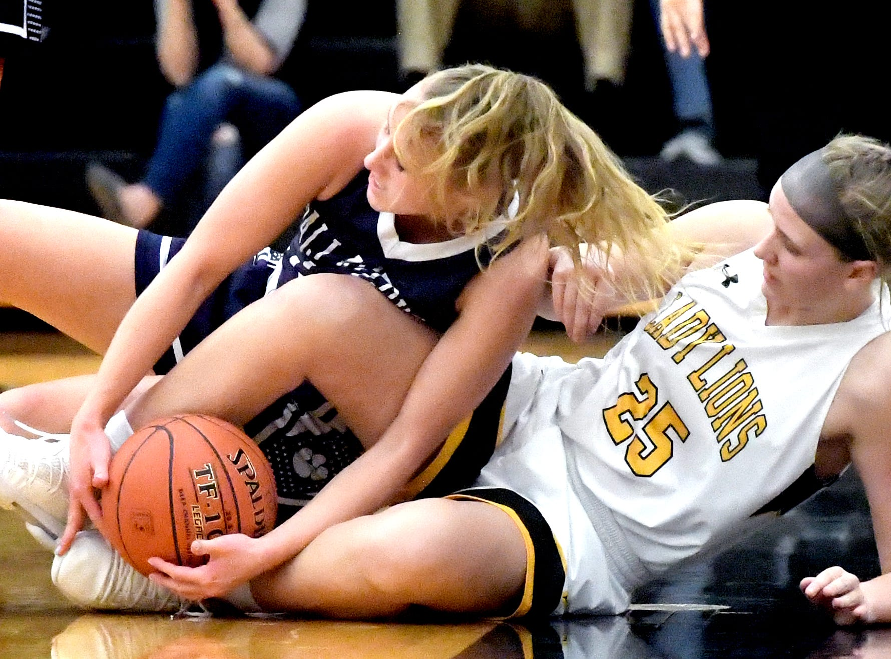 Dallastown's Lily Jamison, left, and Red LIon's Julia Beiler dive for a loose ball during basketball action at Red Lion Tuesday, Feb. 5, 2019. Bill Kalina photo