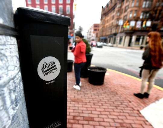 New ash receptacles are in place on the four corners of Continental Square Wednesday, Feb. 6, 2019. The City of York's Electrical Bureau installed 18 receptacles in highly trafficked downtown areas, according to a release by Downtown Inc. Bill Kalina photo