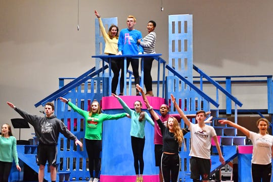 """Central York High School students during rehearsal for their upcoming production of, """"Catch Me If You Can,"""" at Central York High School in Springettsbury Township, Wednesday, Feb. 6, 2019. Central York is the first York area school to perform the production Feb. 15-17. Dawn J. Sagert photo"""
