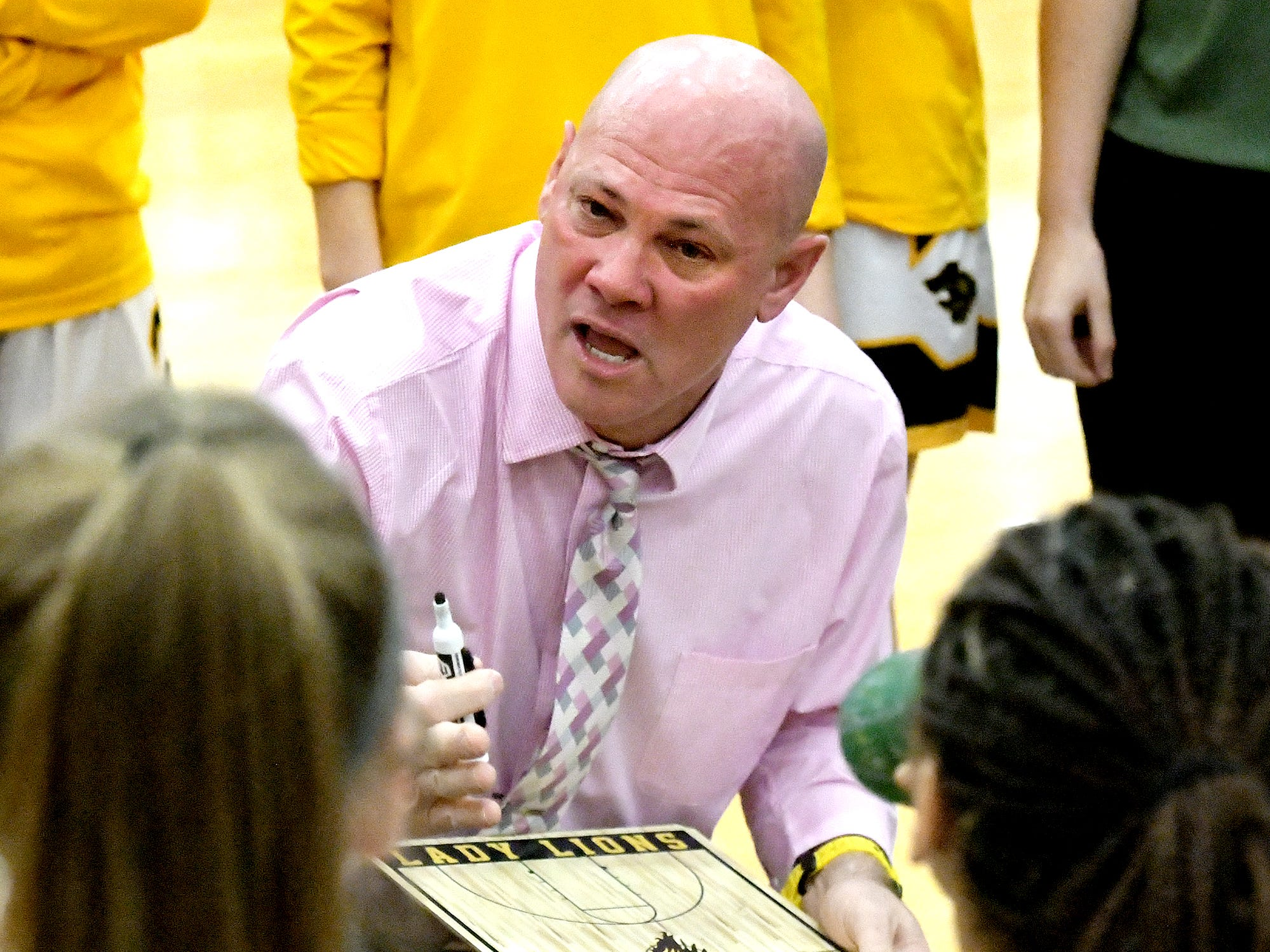 Red LIon coach Don Dimoff talks with his team during a game against visiting Dallastown Tuesday, Feb. 5, 2019. Bill Kalina photo
