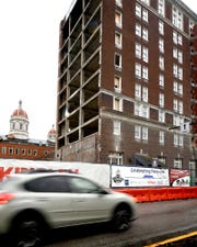 Construction continues on the Yorktowne Hotel Wednesday, Feb. 6, 2019. Costs to renovate a historic York City hotel have nearly doubled since the project was announced in April 2017. Bill Kalina photo