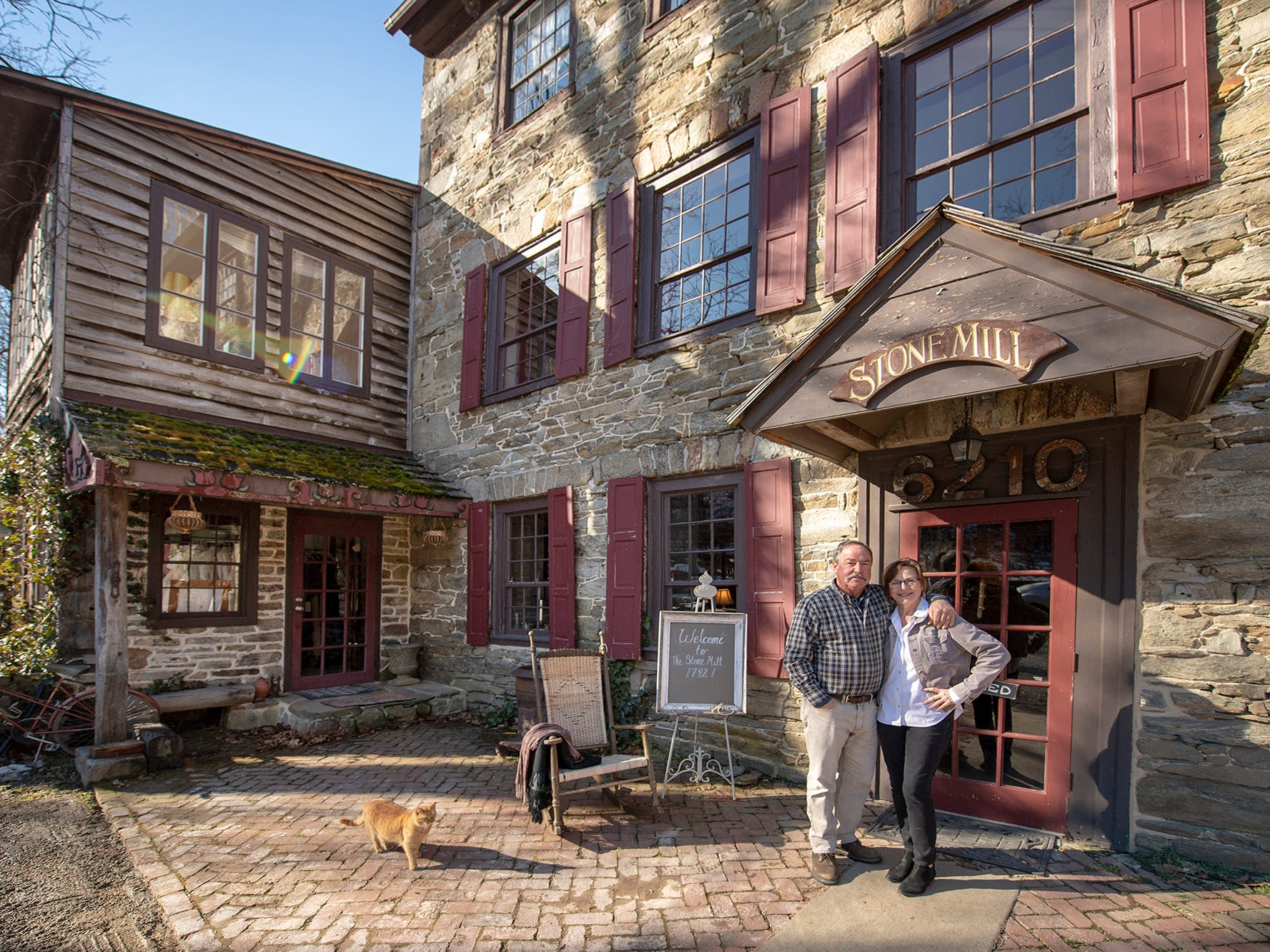 From the left, Joe and Pam Hepner in front of the Stone Mill 1792 Tuesday February 5, 2019.