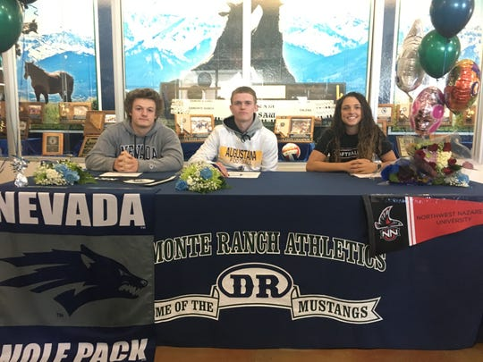 Damonte Ranch had three athletes sign for college: Left to right, Derrick Knoblock, Jake Polson, Madison Felter.