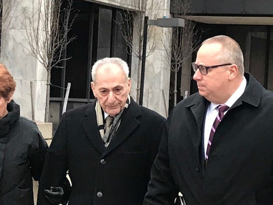 Former Assemblyman Joseph Errigo (l) and attorney Joseph Damelio leave federal court Wednesday.