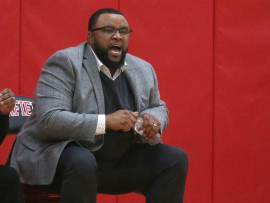 Bishop Kearney head coach Kevan Sheppard yells in a play for his squad.