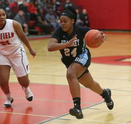Kearney's Taylor Norris drives to the basket past Penfield's Nyara Simmons.