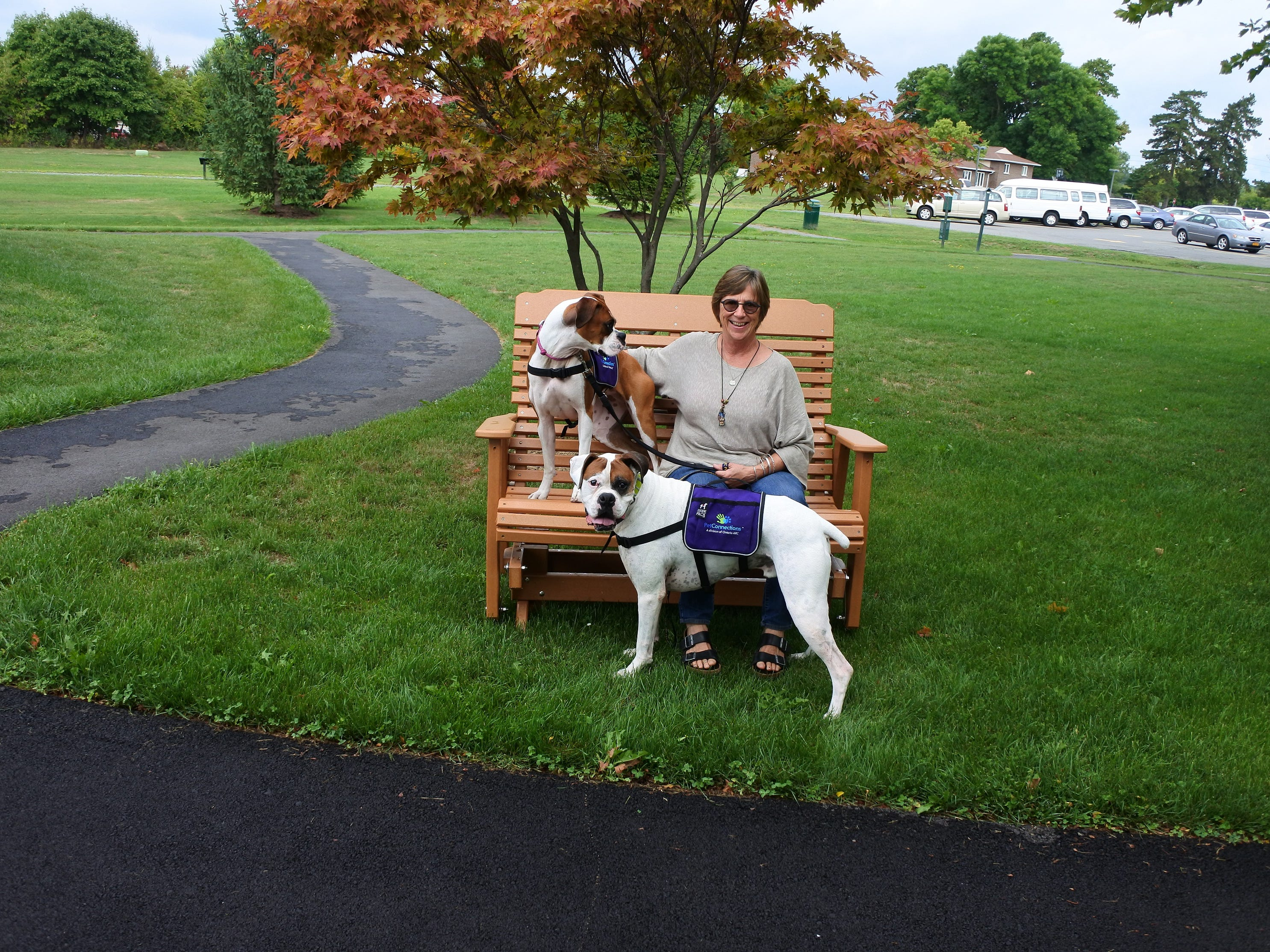 Gail Furst is a certified professional dog trainer and works with Pet Connections, a division of Ontario ARC, to train and certify local therapy dogs. Her two dogs, Albert James and Willow, are both certified therapy dogs.