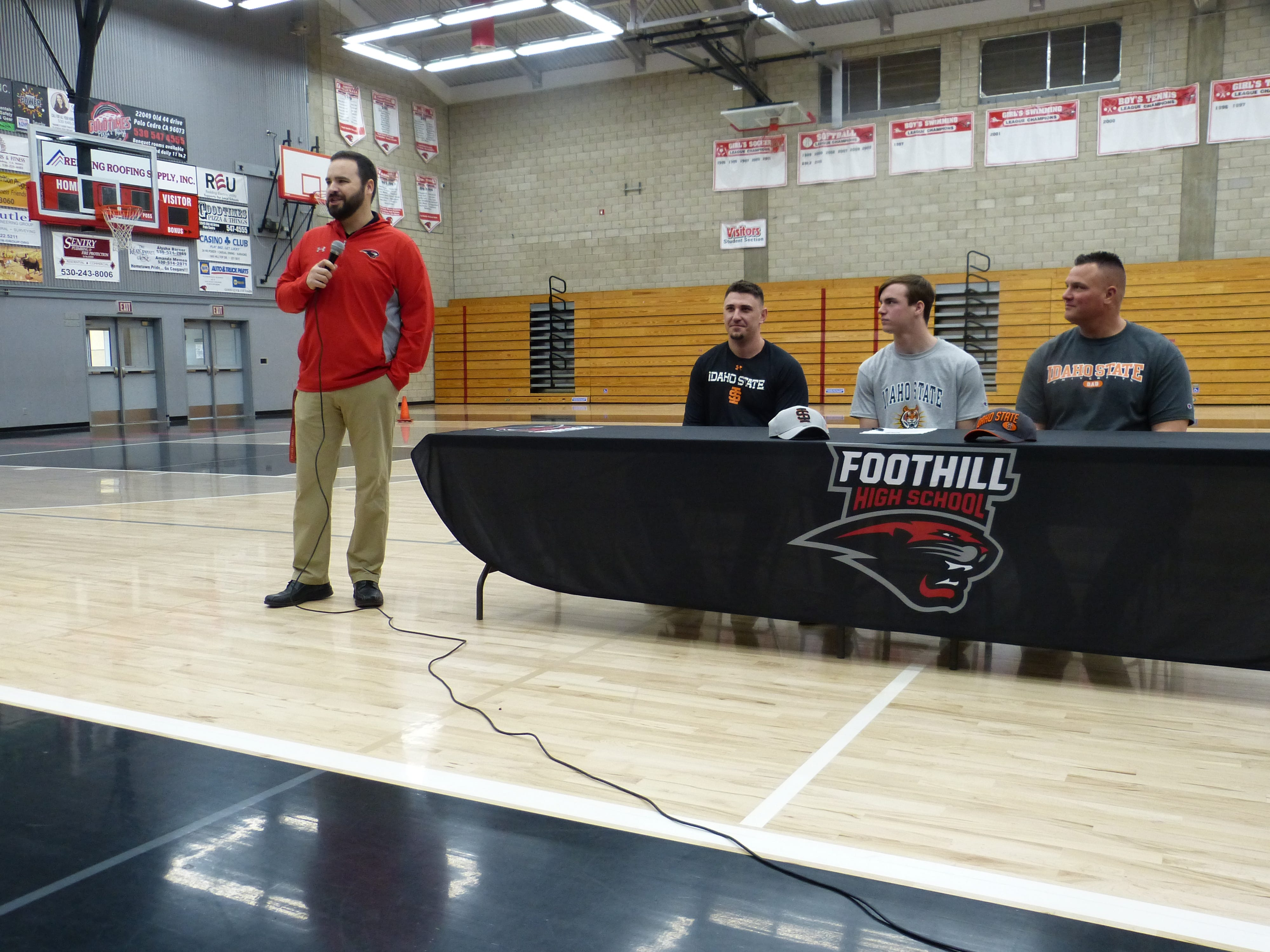 Foothill football coach Joey Brown talks about Jayden Gordon before Gordon signed with Idaho State on Wednesday, Feb. 6, 2019.