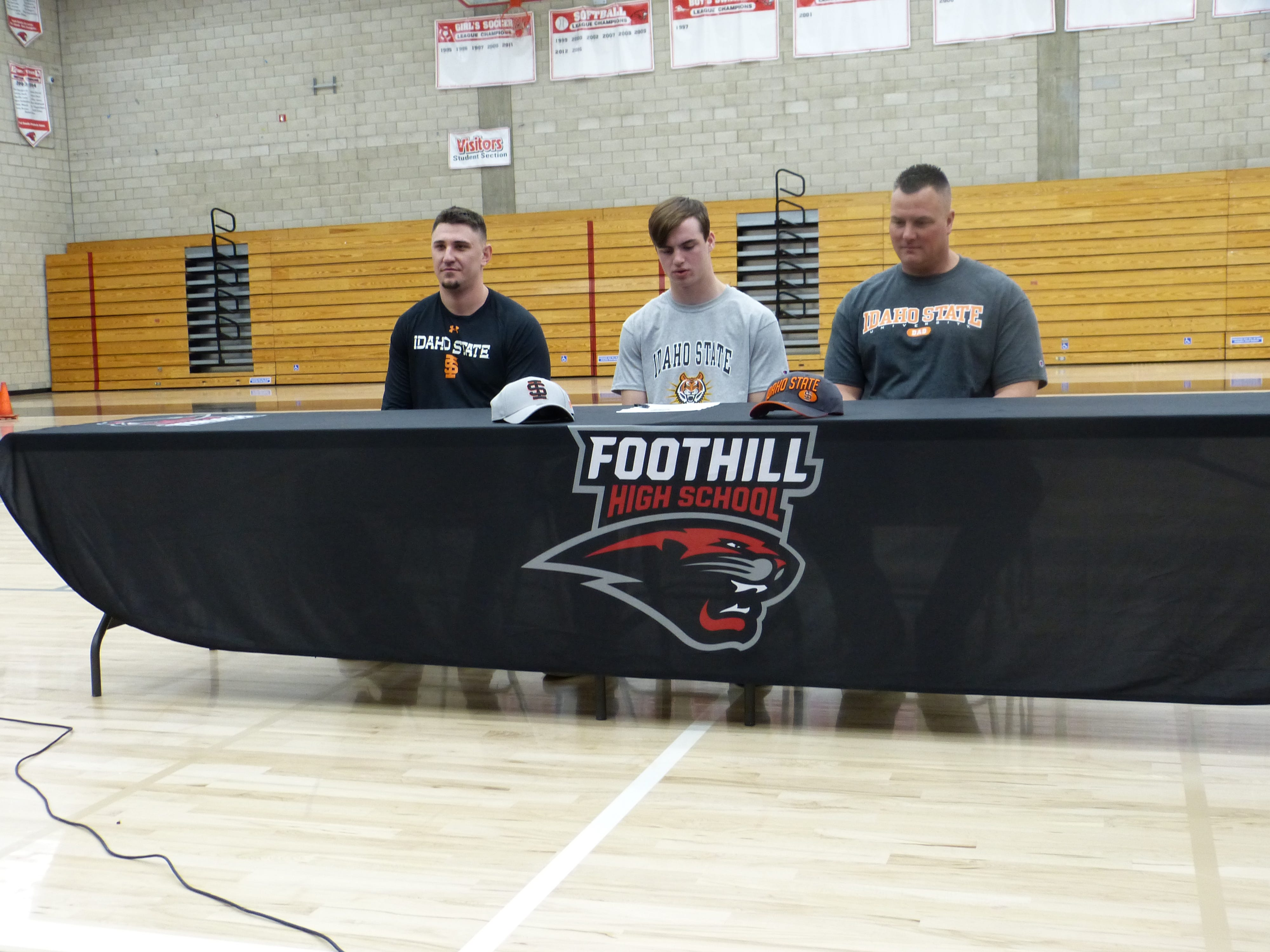 Foothill senior Jayden Gordon prepares to sign his letter of intent to play football at Idaho State on Wednesday, Feb. 6, 2019.