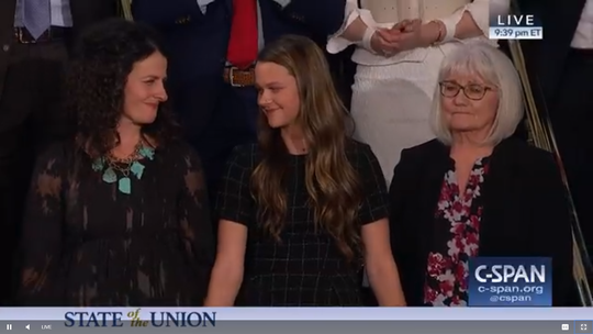 Left to right: Heather Armstrong, Madison Armstrong and Debra Bissell, the family of Jerry and Sherri David, were guests of President Donald Trump for State of the Union address on Tuesday, Feb. 5, 2019. The Davids were found murdered in January at their Reno home. The suspect is an unauthorized immigrant from El Salvador.