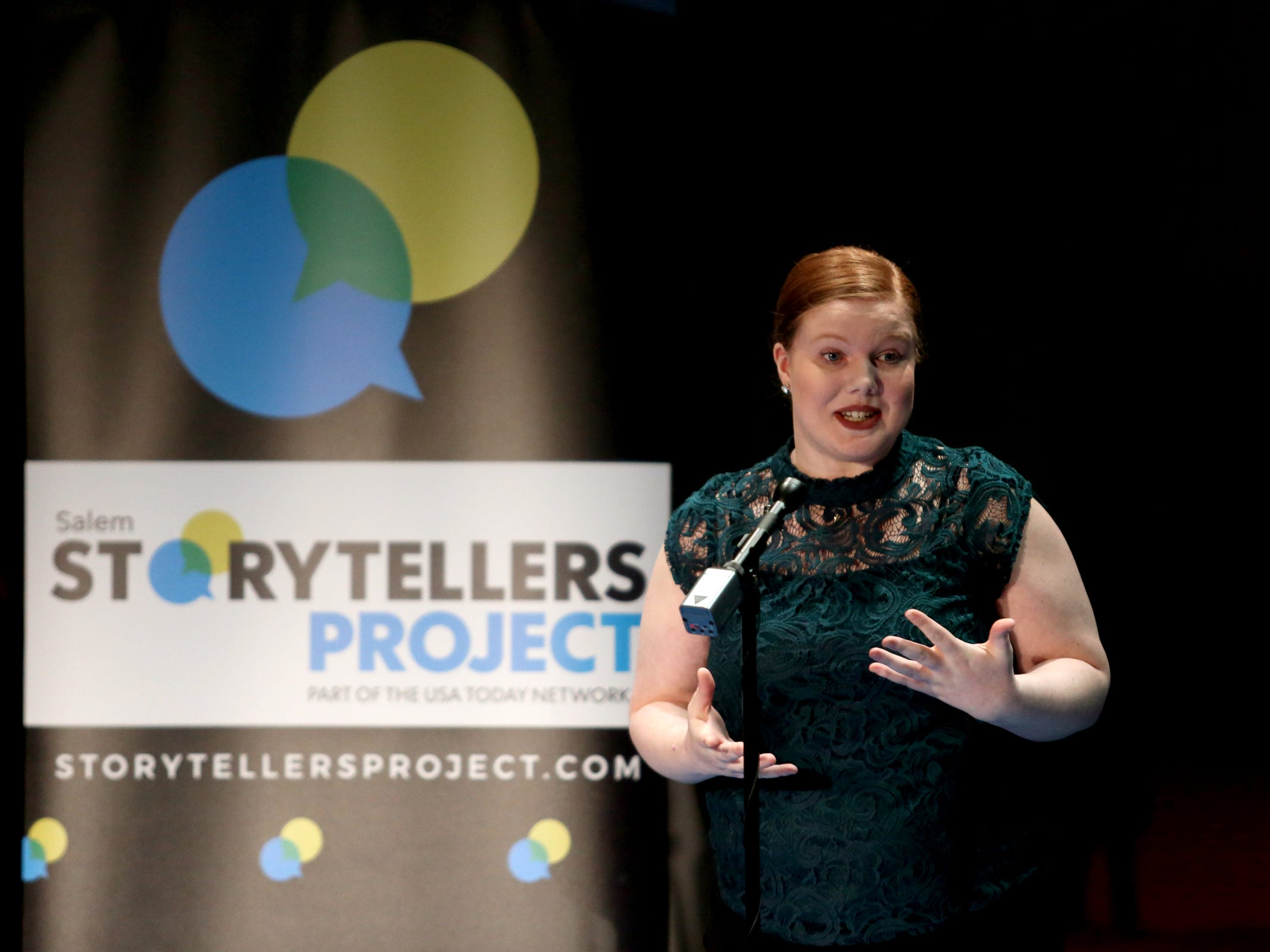 Shayla Lacy speaks as Salem Storytellers Project presents Romance, or Not at the Pentacle Theatre in Salem on Tuesday, Feb. 5, 2019.