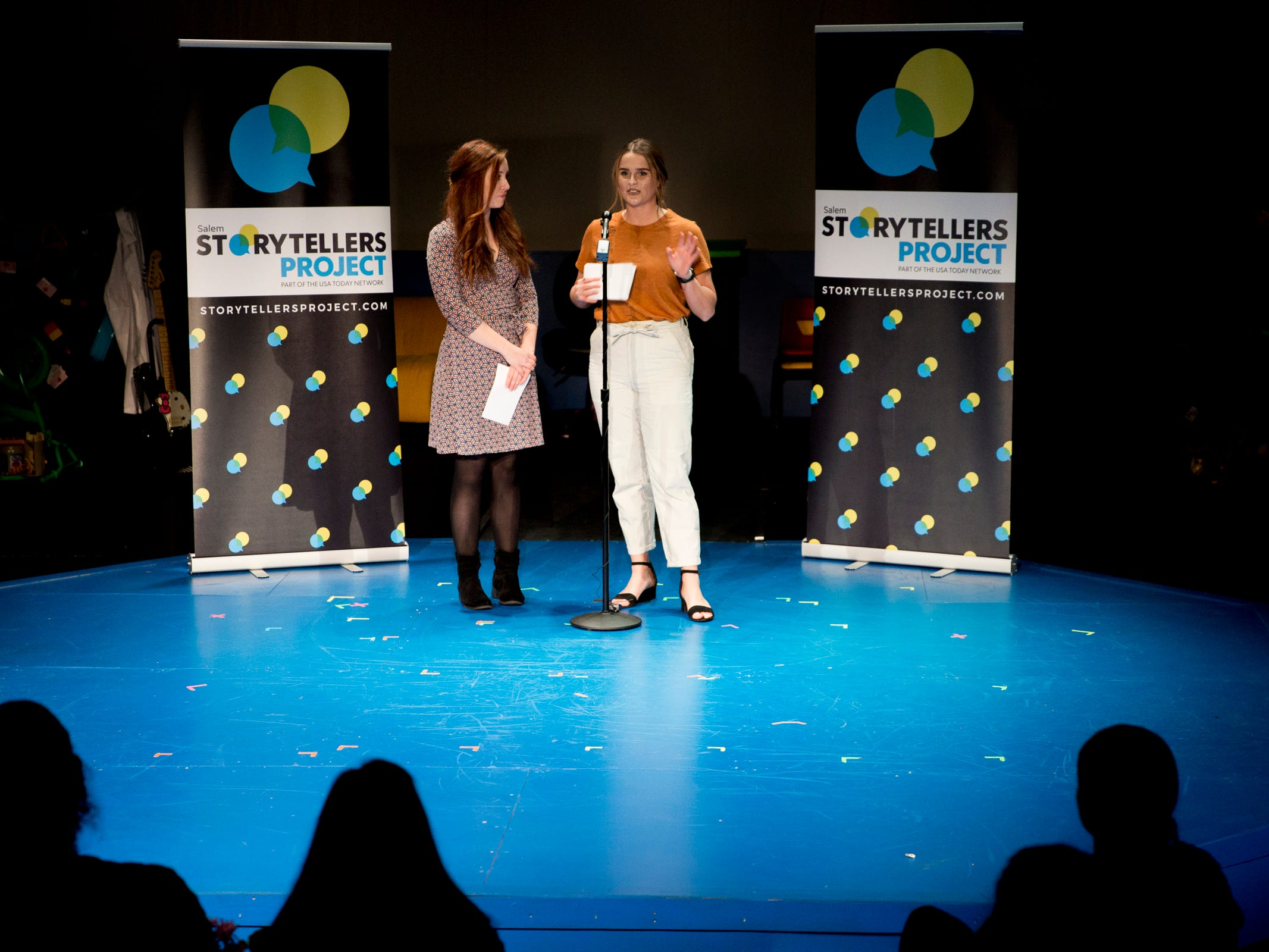Statesman Journal reporters Natalie Pate, left, and Abby Luschei emcee Salem Storytellers Project presents Romance, or Not at the Pentacle Theatre in Salem on Tuesday, Feb. 5, 2019.