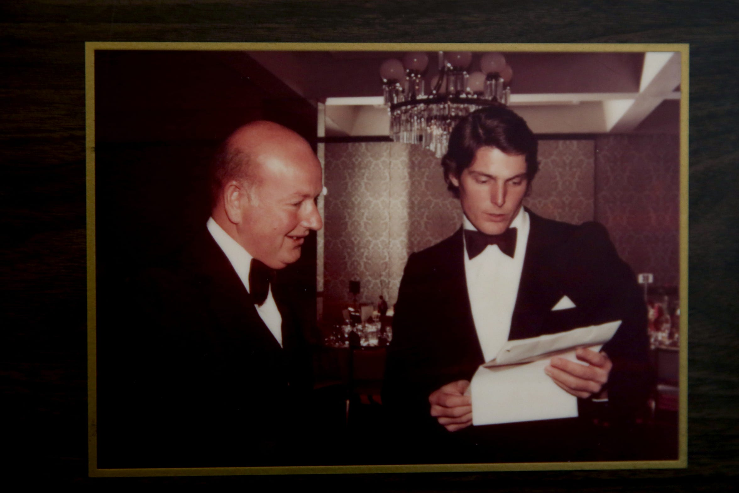 Memorabilia from his career in film, including a photo with Christopher Reeve, is displayed at Don Rogers' home near Salem on Wednesday, Feb. 6, 2019. He received an Oscar for lifetime achievement in sound in 1996.