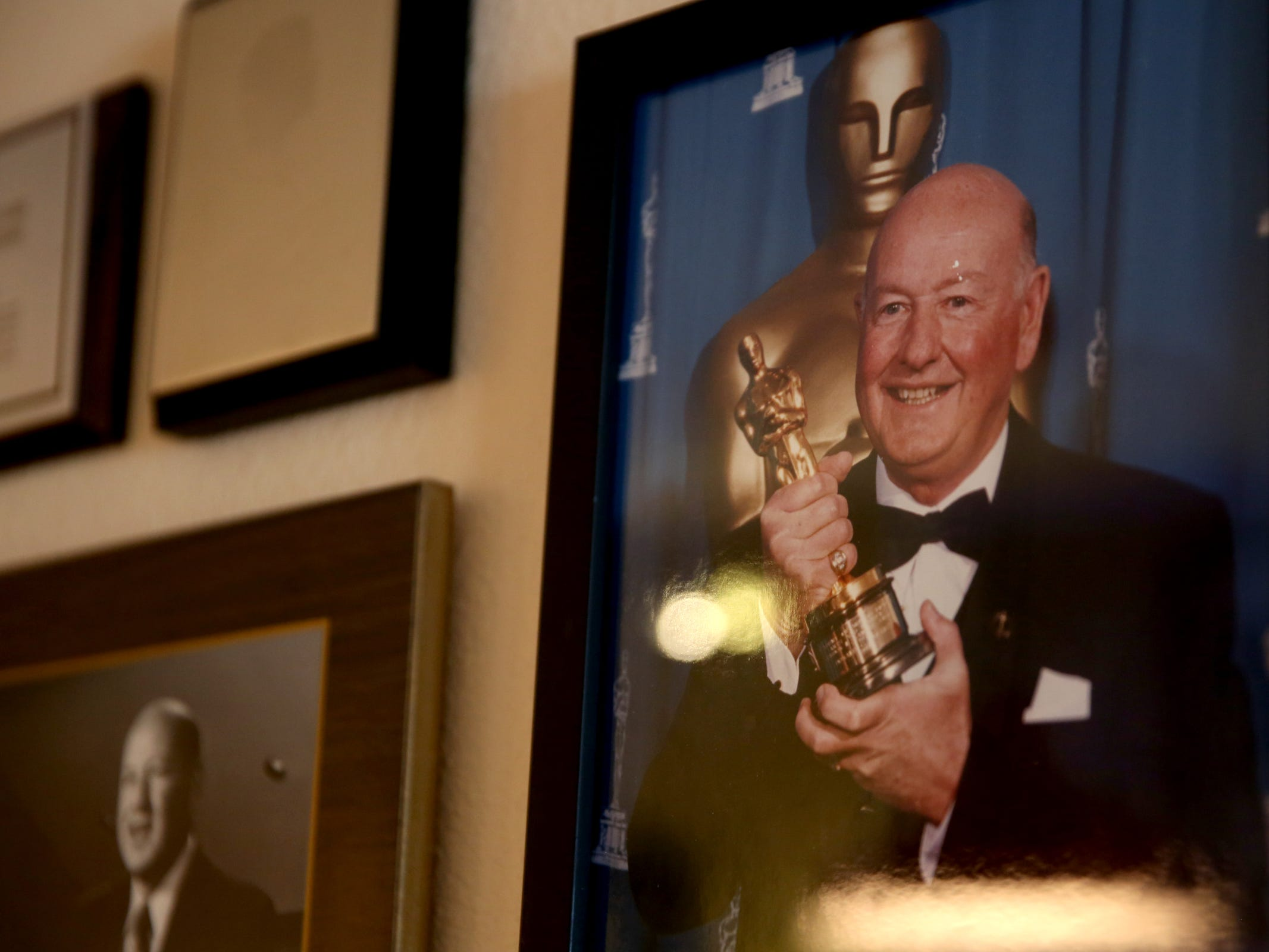 Memorabilia from his career in film is displayed at Don Rogers' home near Salem on Wednesday, Feb. 6, 2019. He received an Oscar for lifetime achievement in sound in 1996.