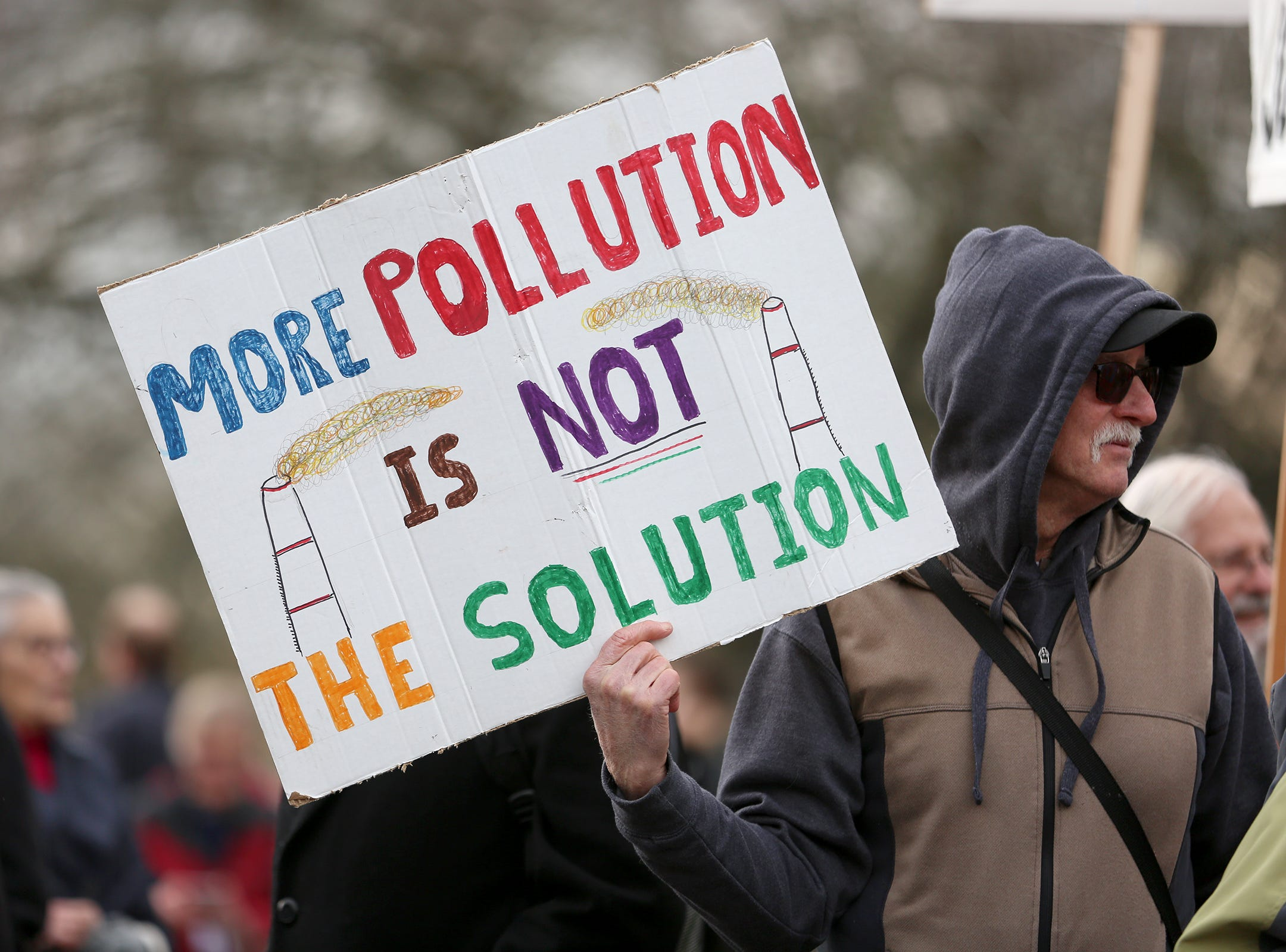 Oregonians from all 30 Senate districts in the state rallied in support of clean energy jobs at the Oregon State Capitol in Salem on Wednesday, Feb. 6, 2019.