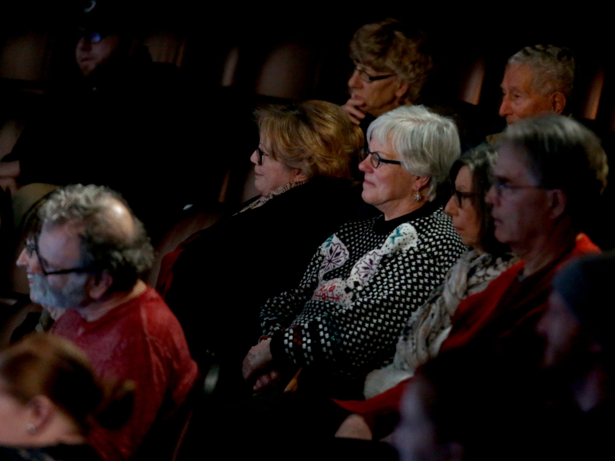 The audience listens as Salem Storytellers Project presents Romance, or Not at the Pentacle Theatre in Salem on Tuesday, Feb. 5, 2019.