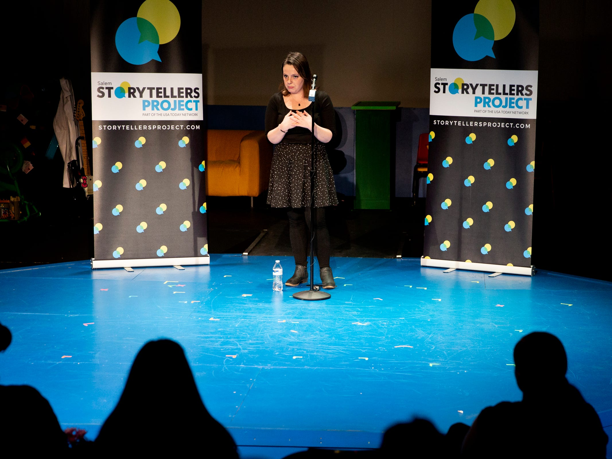 Bobbie Mann speaks as Salem Storytellers Project presents Romance, or Not at the Pentacle Theatre in Salem on Tuesday, Feb. 5, 2019.