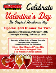 Original Roadhouse has a special offer for Valentine's Day 2019.