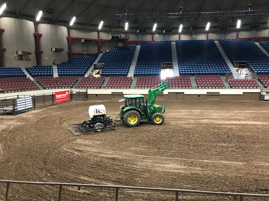 The dirt-breaking and smoothing tractor gets a good workout every year at the San Angelo Rodeo, as the soil must be reconditioned after each performance concludes.