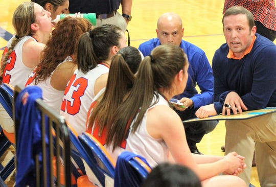 San Angelo Central head coach Landon Dyer talks to the Lady Cats during a District 3-6A basketball game against Hurst Bell Tuesday, Feb. 5, 2019, at the Central gym.