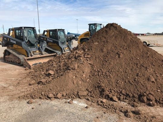 A few spare yards of dirt sit outside Foster Communications Coliseum before the San Angelo Rodeo begins Feb. 1.