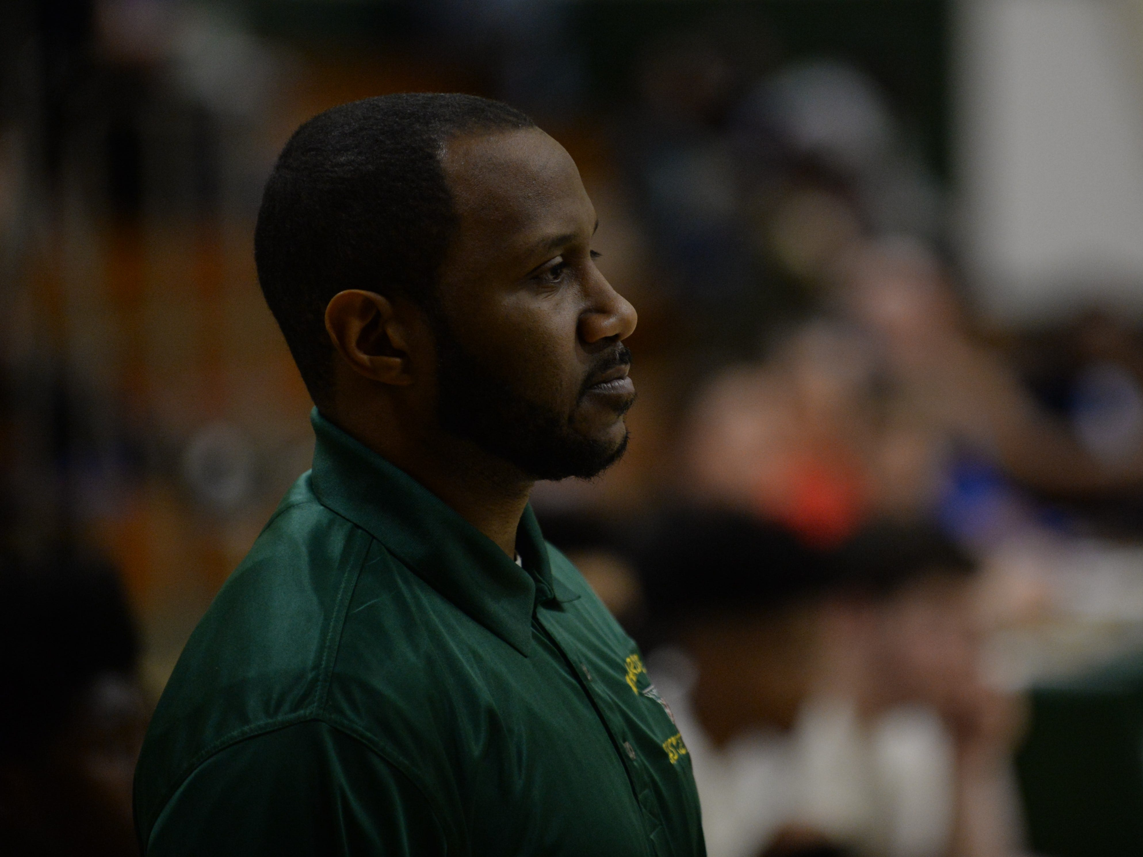Mardela head coach Jermichael Mitchell watches his team from the sideline on Tuesday, Feb. 5, 2019.