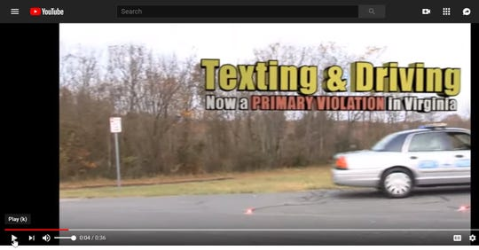 The Virginia Department of Motor Vehicles has posted a public service announcement on YouTube warning of the dangers of texting and driving.