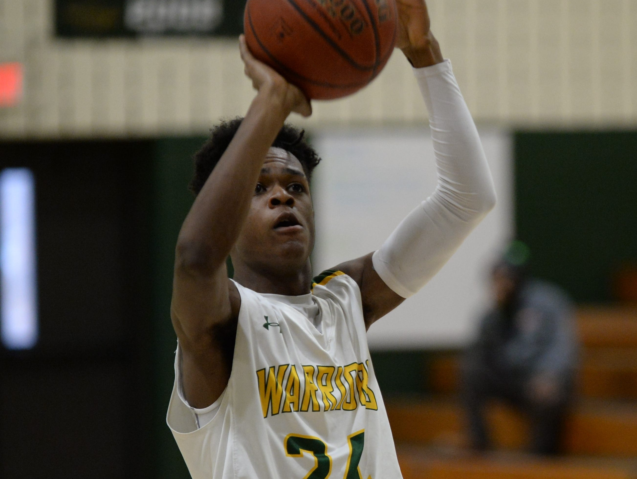 Mardela's Syncere Pinkett takes a foul shot against Stephen Decatur on Tuesday, Feb. 5, 2019.